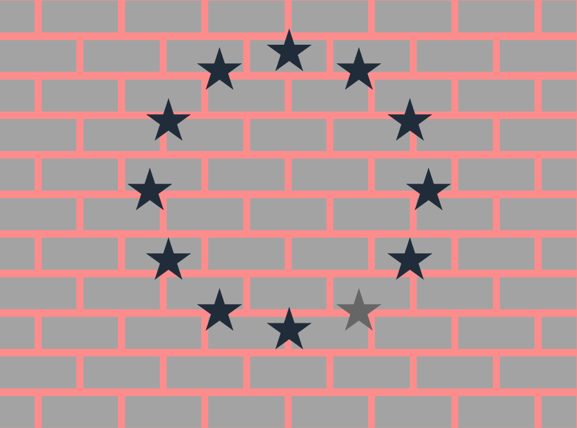 Graphic of EU flag on wall missing a star