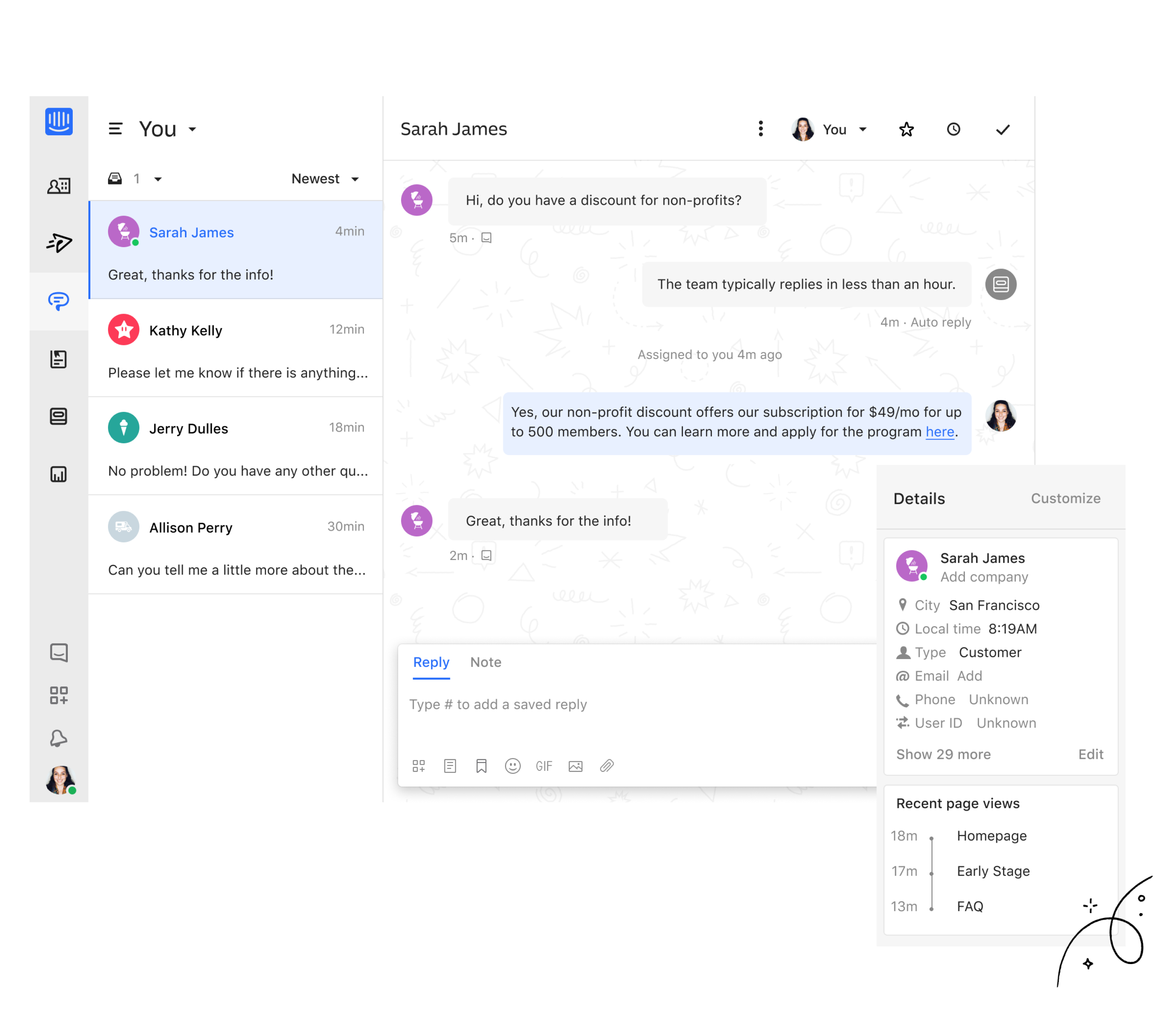 screenshot of Intercom inbox
