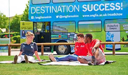 Students engaged with branded bus marketing campaign