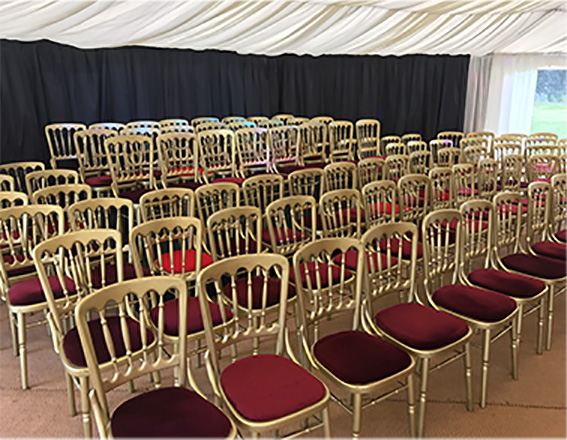 Gold banqueting chairs to hire
