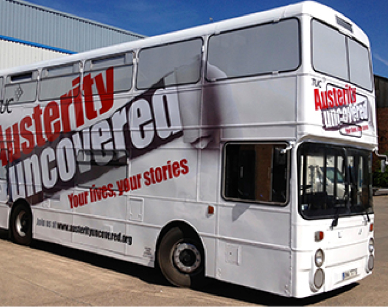 TUC Austerity Branded Bus