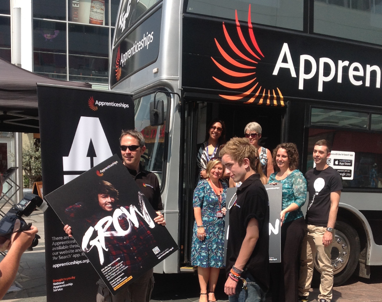 National Apprenticeship Services branded bus