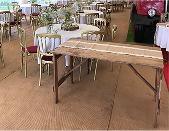 Vintage tables for hire
