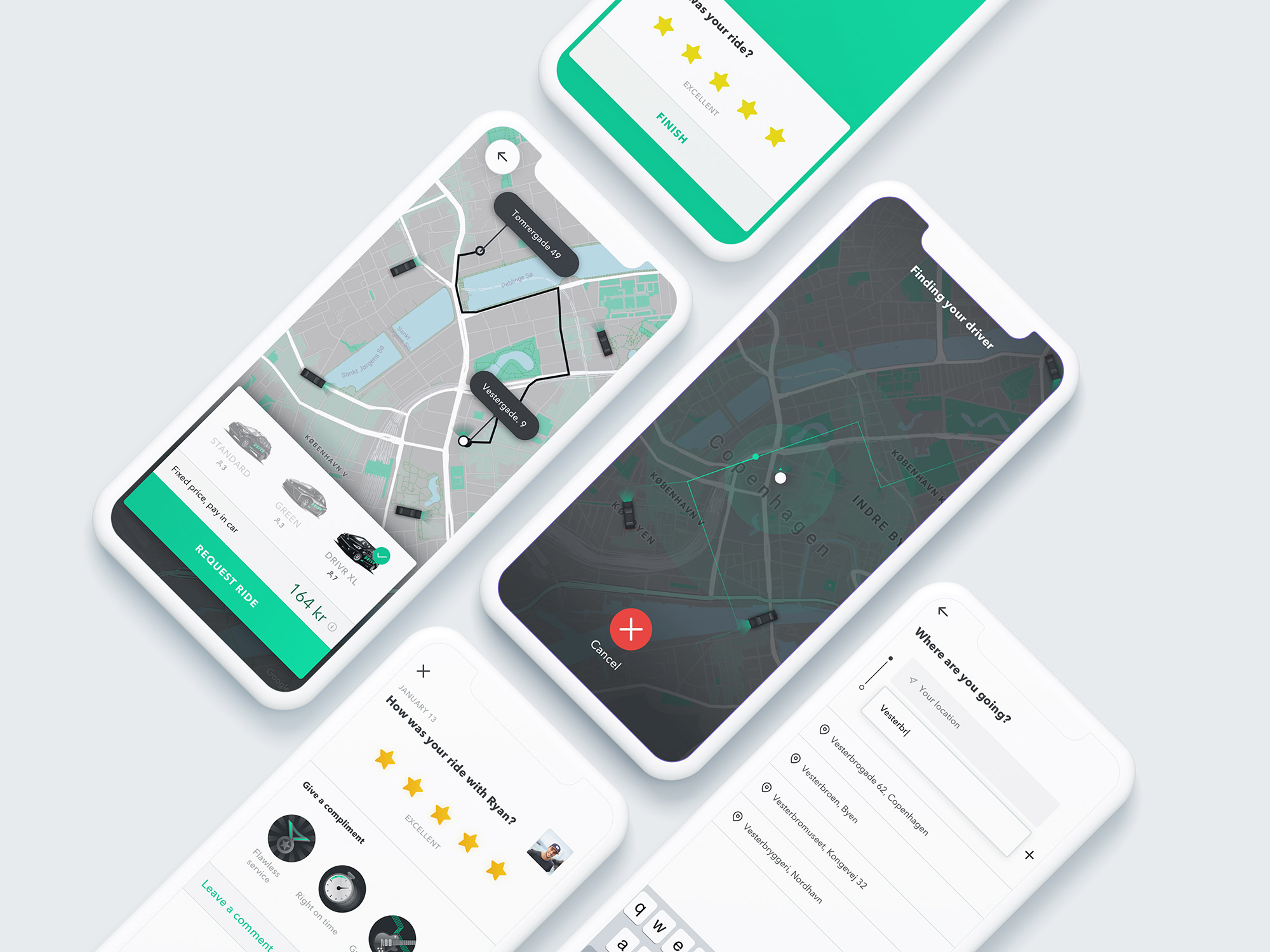 DRIVR app screens