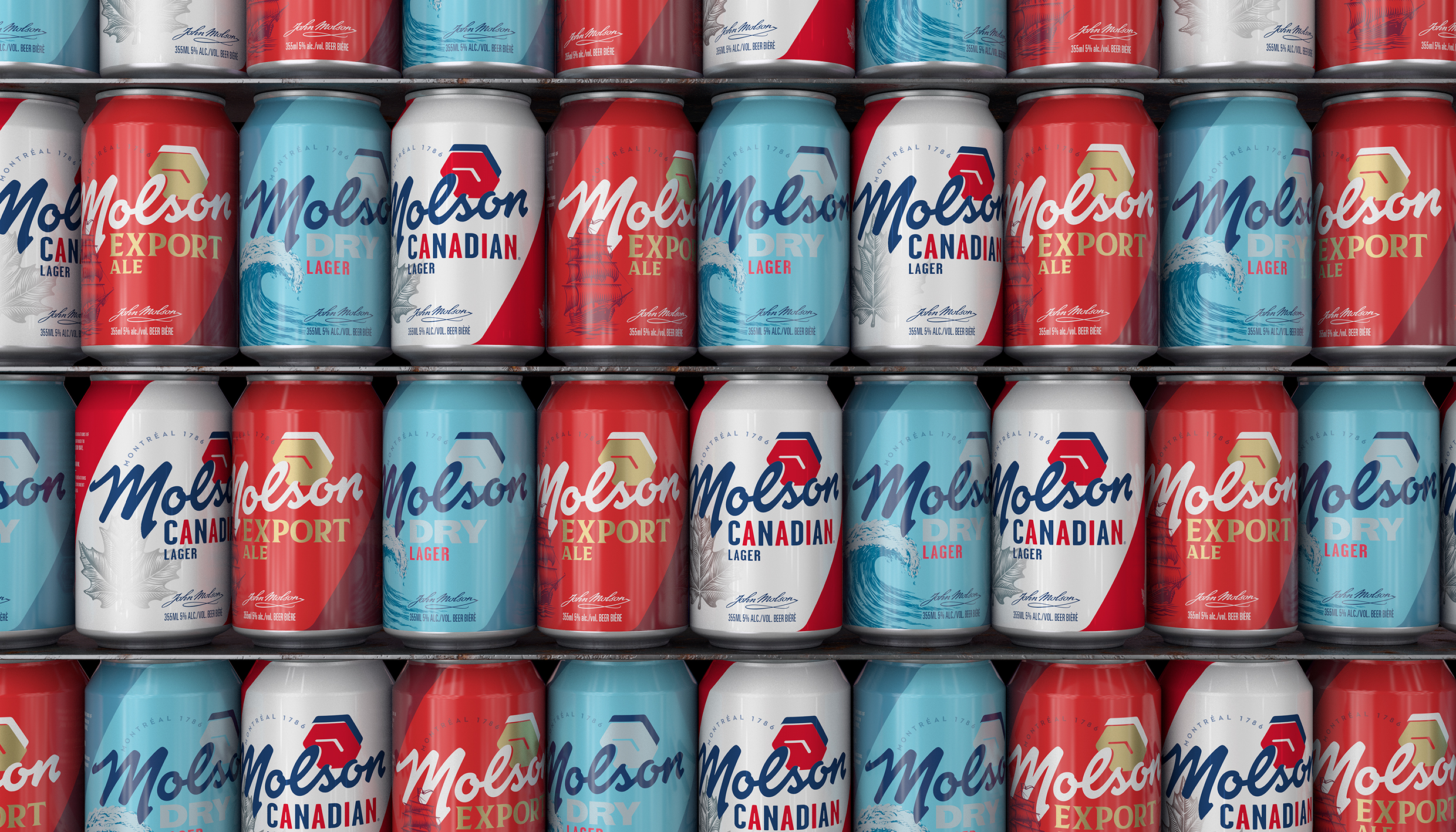 molson canada can wall stack