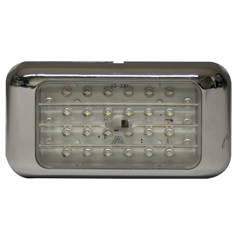 LED Interior Light: Rectangular, 12-24V, chrome