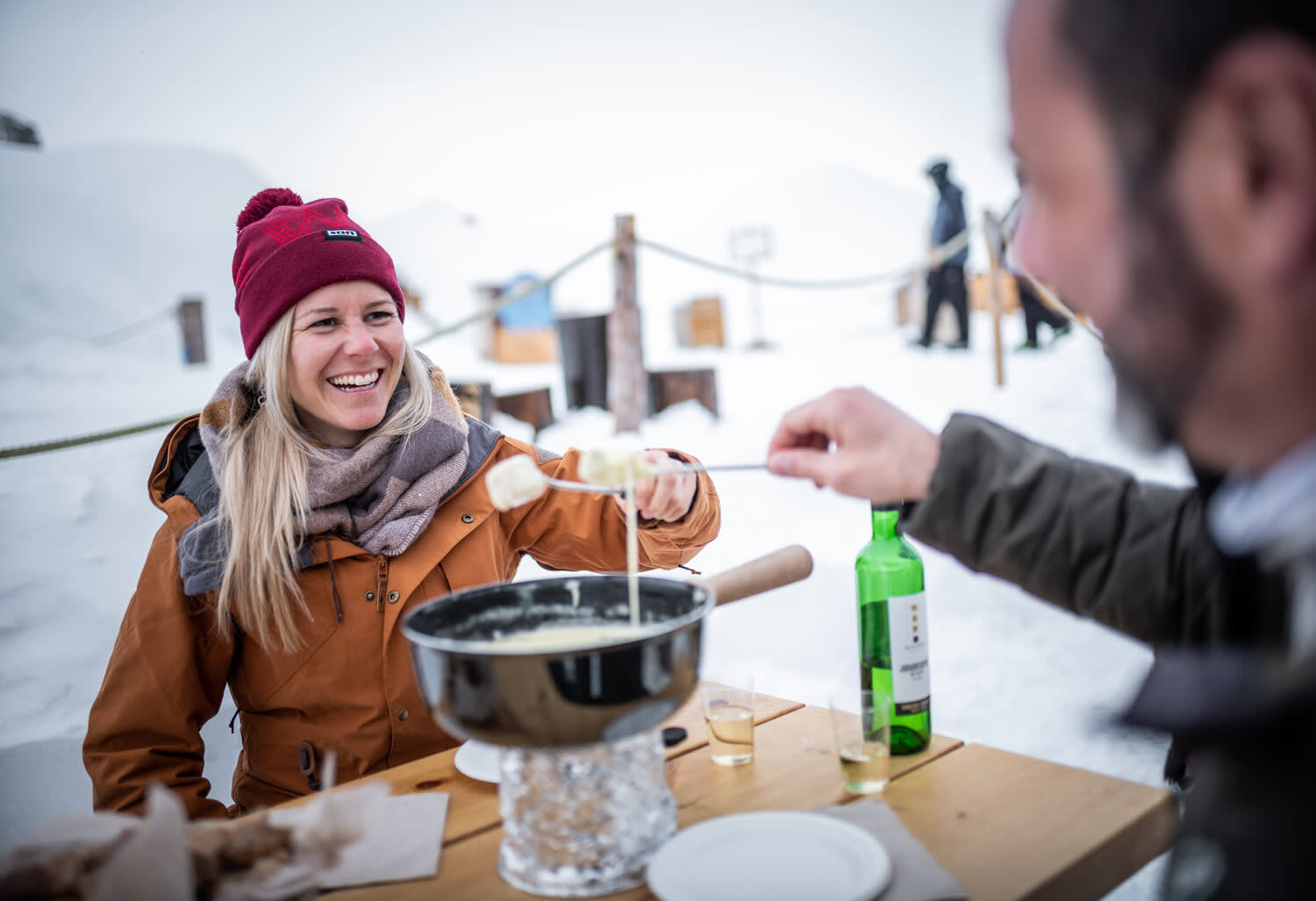 Fondue in the igloo village in front of the Matterhorn