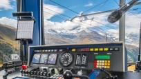 Driver's cab of the Gornergrat Bahn in summer, Zermatt