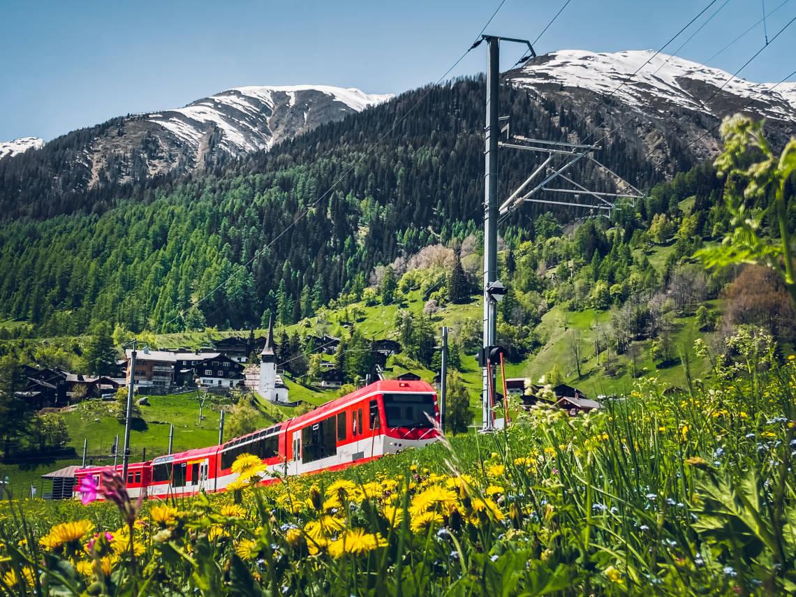 Matterhorn Gotthard Bahn in the Goms valley in spring