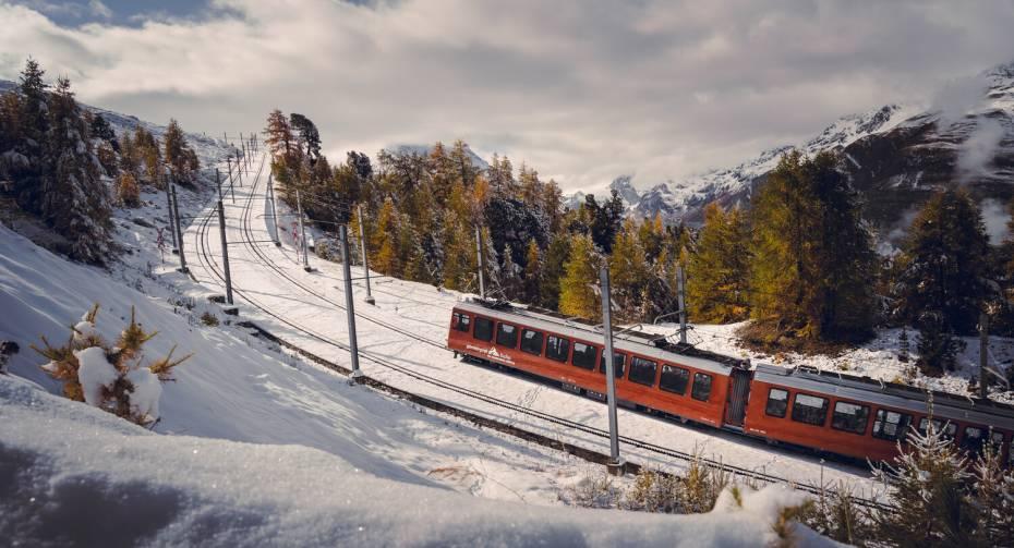 Zug der Gornergrat Bahn oberhalb Riffelalp