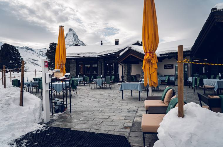 Restaurant Al Bosco Riffelalp Resort above Zermatt in winter