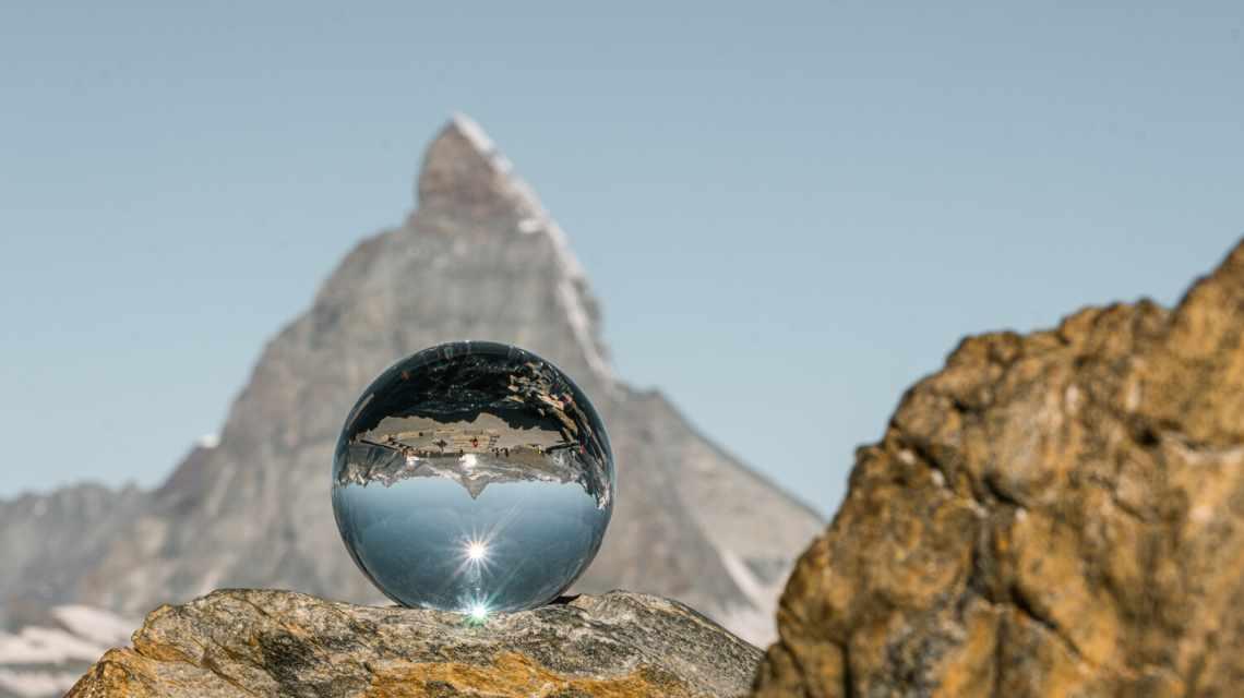 Glass sphere Matterhorn Gornergrat in summer