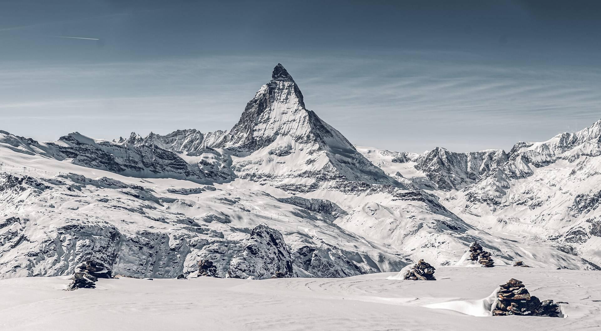 Matterhorn vom Gornergrat aus gesehen im Winter