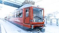 Gornergrat Bahn in der Station Gornergrat im Winter