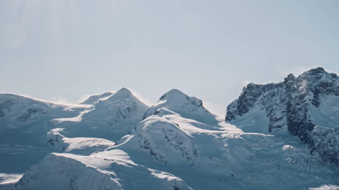 Castor and Pollux from Gornergrat in winter