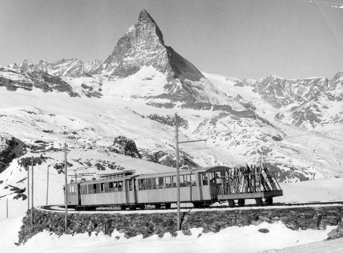 Historic ski train on the Gornergrat above Zermatt in winter