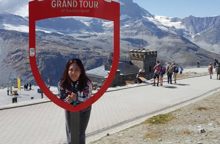 Selfie am Grand Tour Rahmen