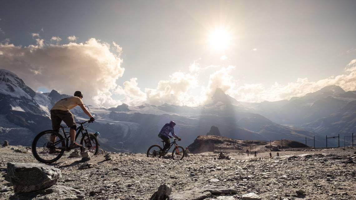 Mountain bikers on the Gornergrat