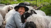Black nosed sheep with her shepherdess on the Gornergrat above Zermatt, Meet the Sheep