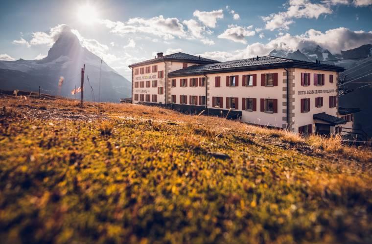 Hotel Restaurant Riffelhaus on Riffelberg above Zermatt in summer