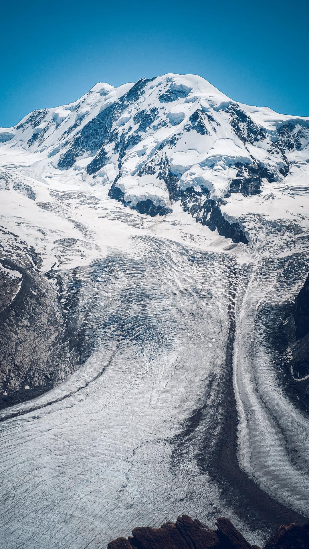 Vue depuis le Gornergrat au glacier de Gorner et Lyskamm