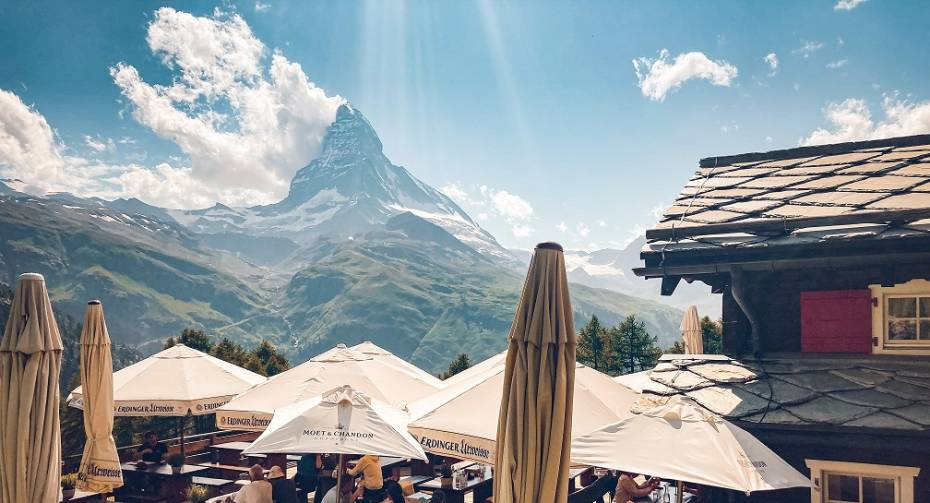 Terrasse ensoleillée Restaurant Alphitta sur le Riffelalp