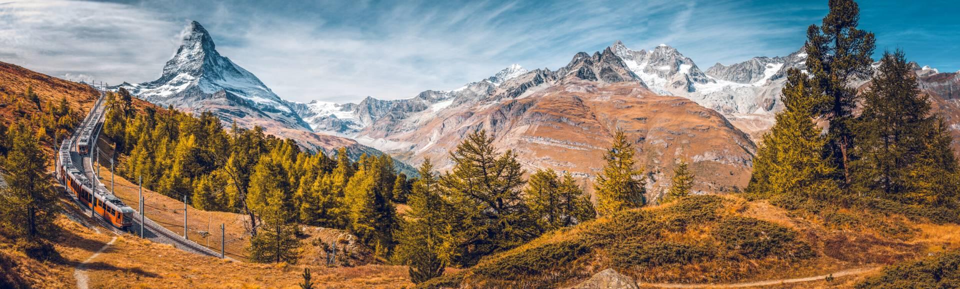 Autumn on the Gornergrat, between the stations Riffelalp and Riffelberg, Zermatt, Switzerland