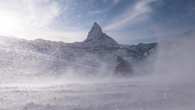 Snooc on the sledge run on Gornergrat above Zermatt