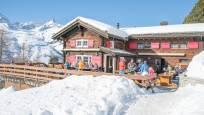 The Alphitta restaurant on Riffelalp in winter from the outside.