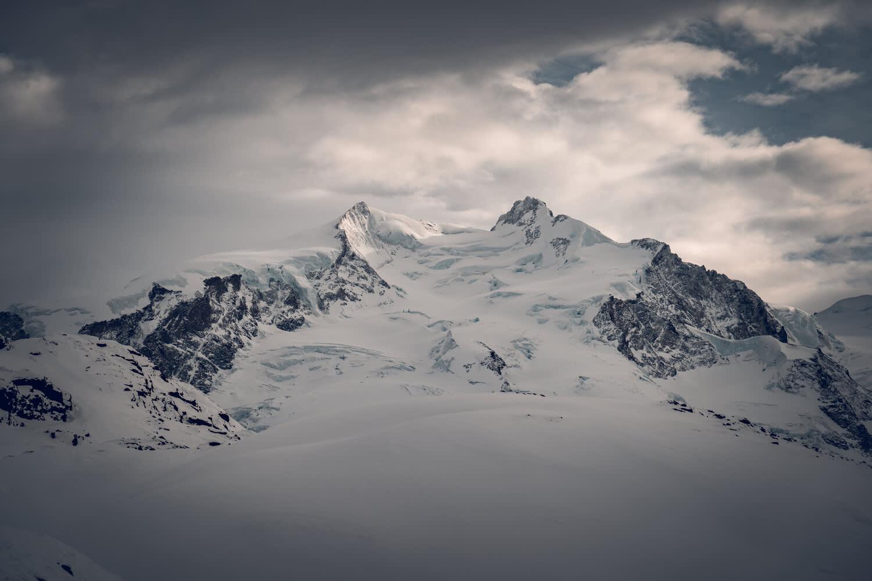 The highest mountain in Switzerland, the Peak of Dufourspitze in winter