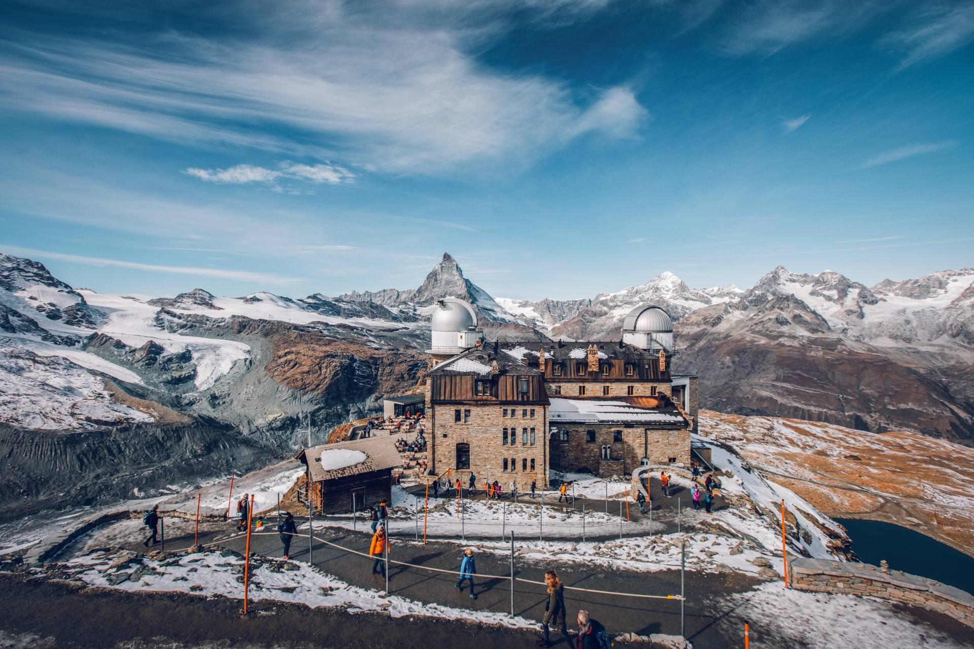 Hôtel Kulm au Gornergrat en automne au-dessus de Zermatt