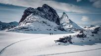 Snowshoe tour Panorama Trail at the Gornergrat above Zermatt