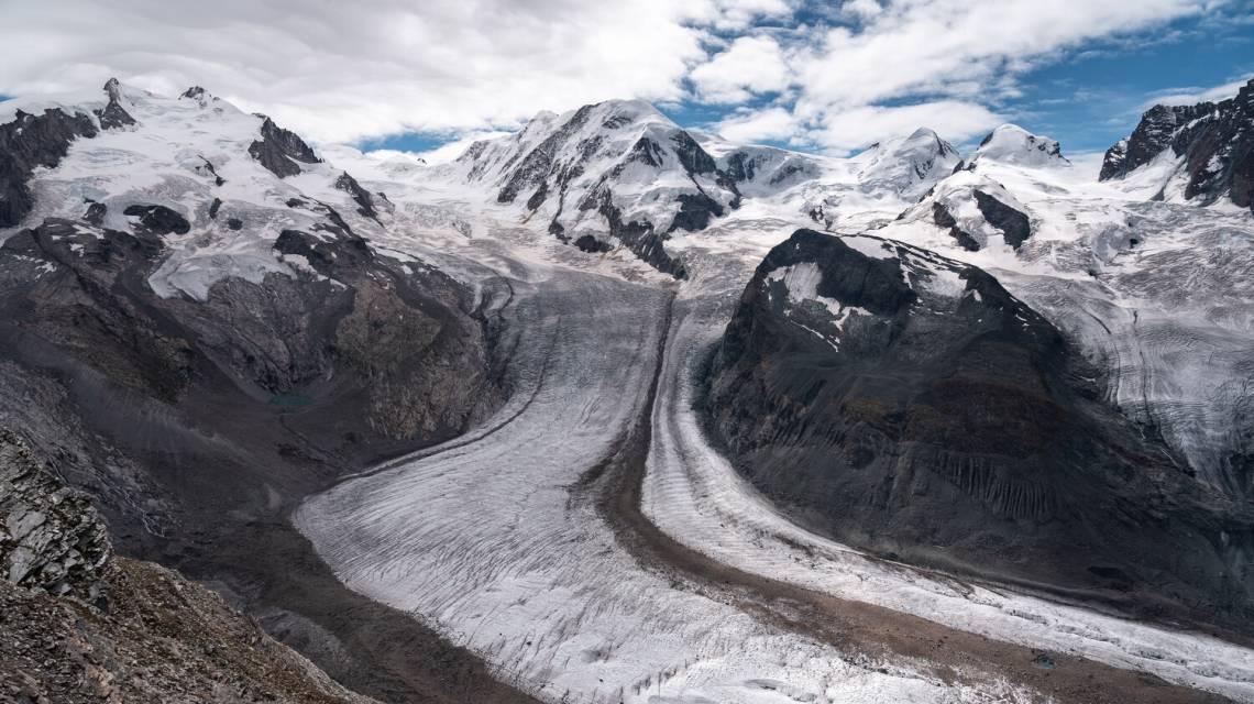Der Gornergletscher von der Wanderung Rotenboden aus gesehen