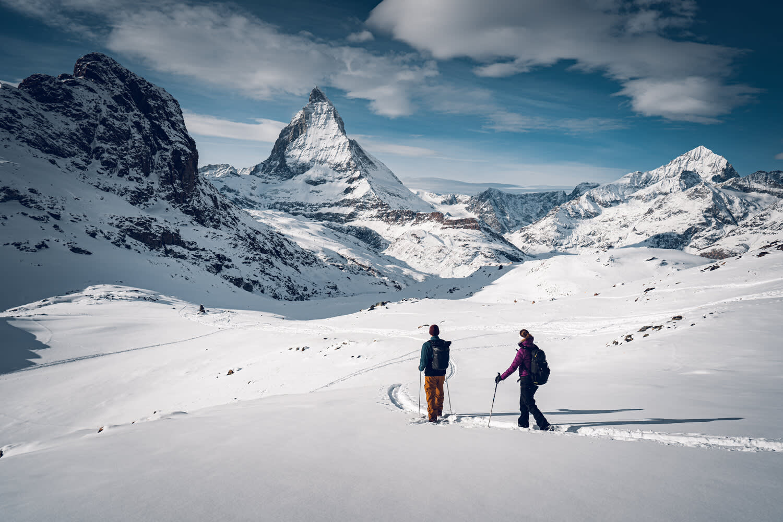 Panorama trail, snowshoeing route between Rotenboden and Riffelberg above Zermatt