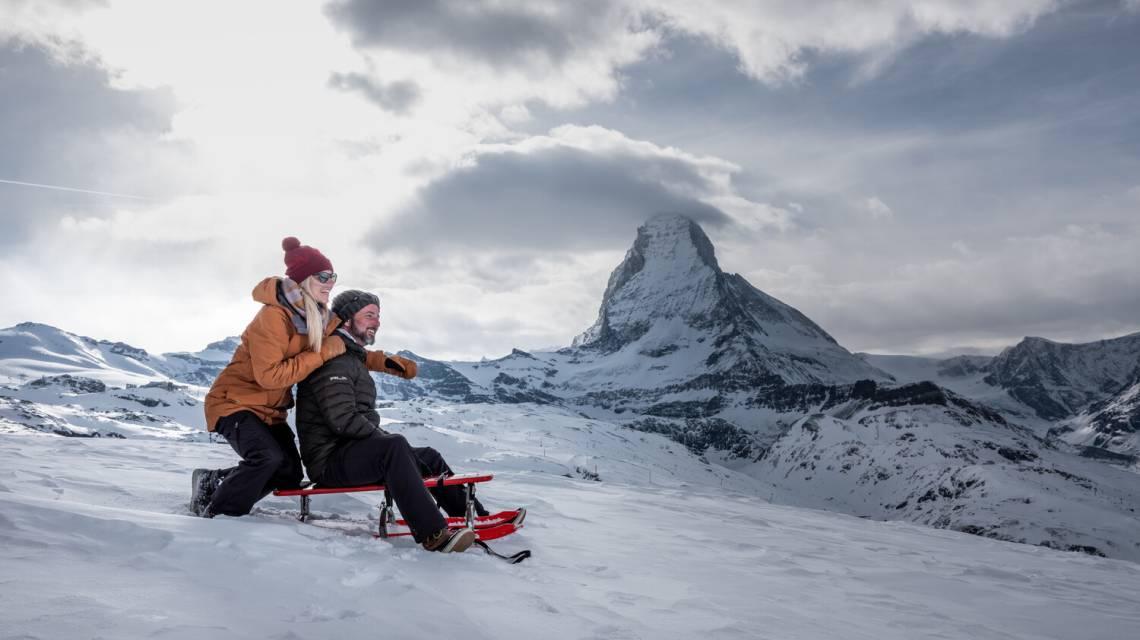 Sledding on the highest sled run in the Alps