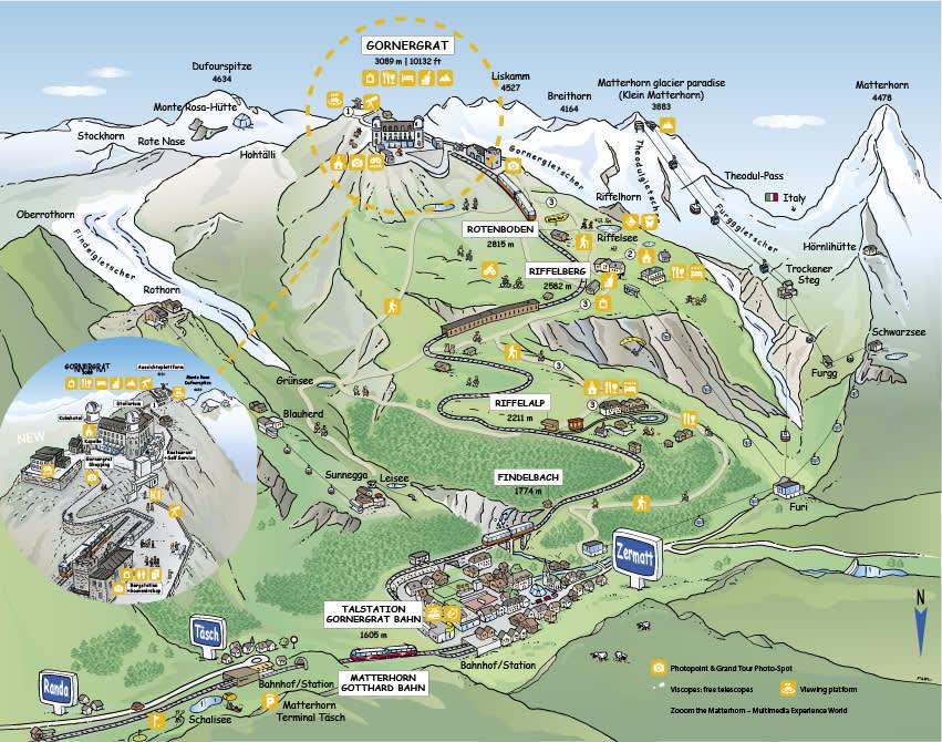 Carte d'été du Gornergrat