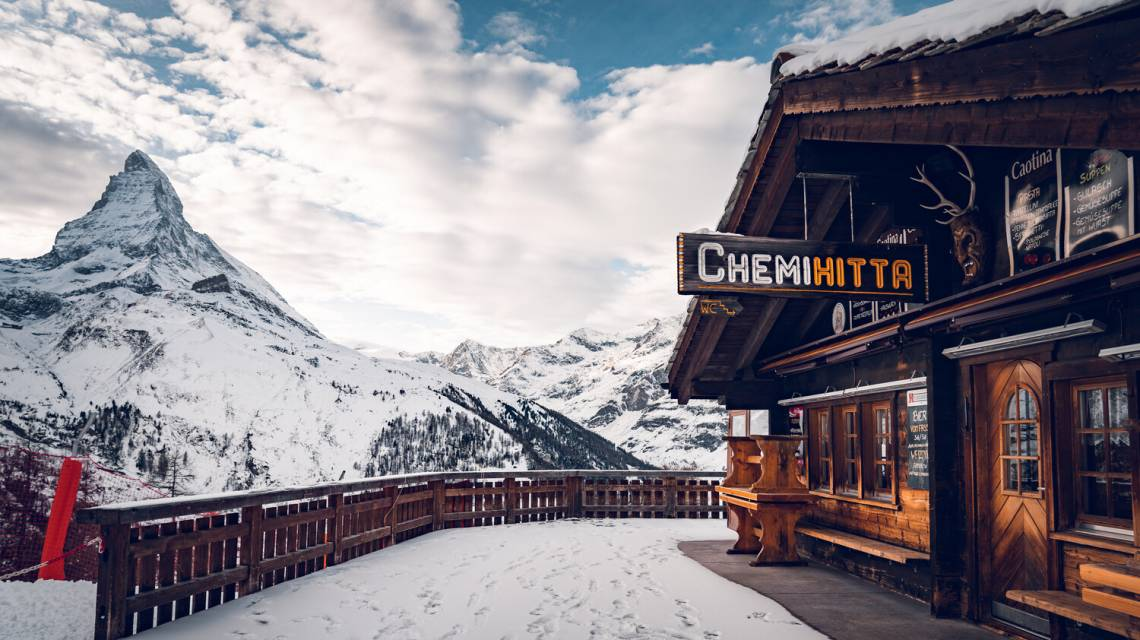 Restaurant Chämi Hitta on the lower Riffelalp above Zermatt