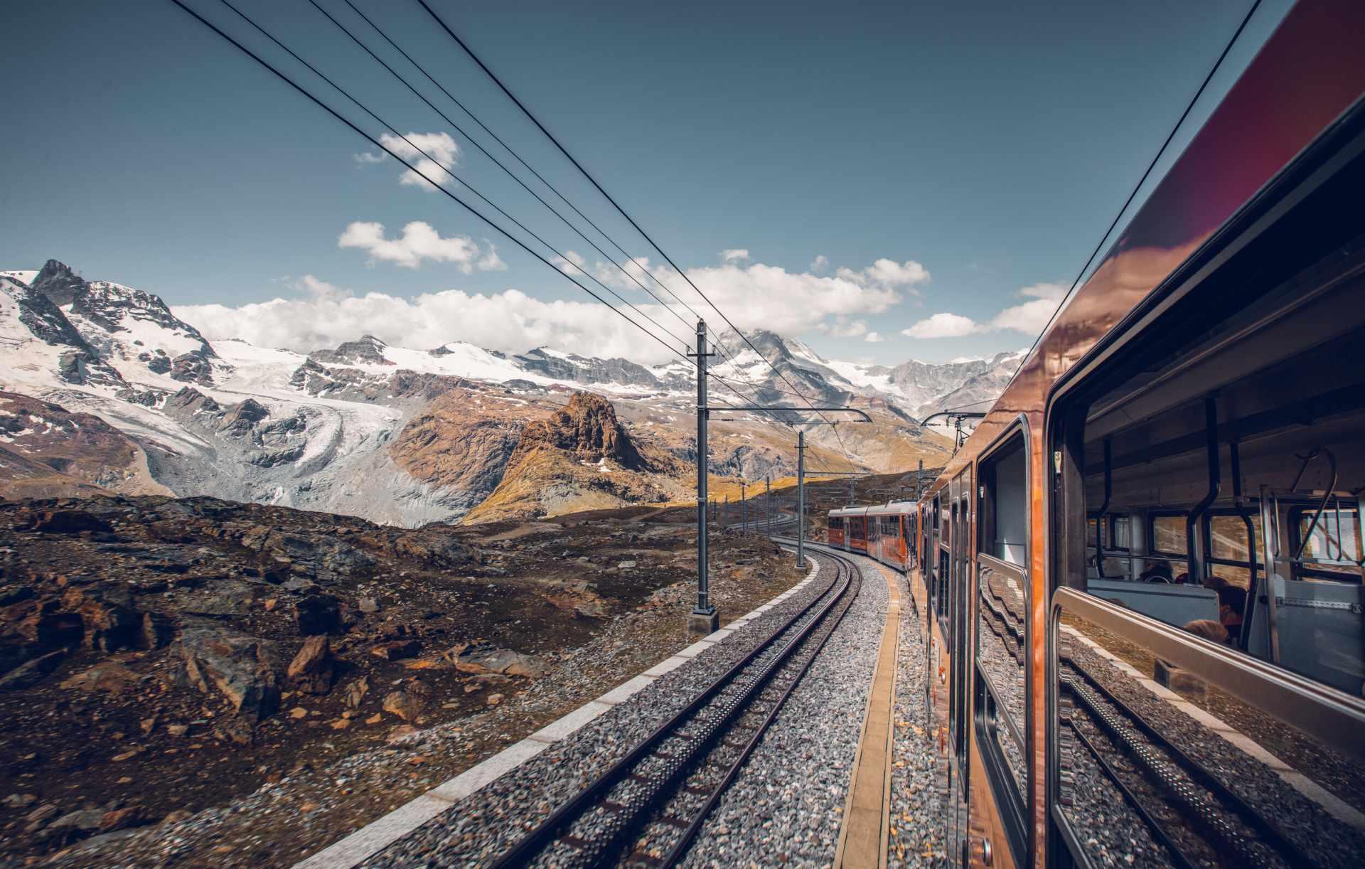 Gornergrat Bahn on the track at Rotenboden in summer