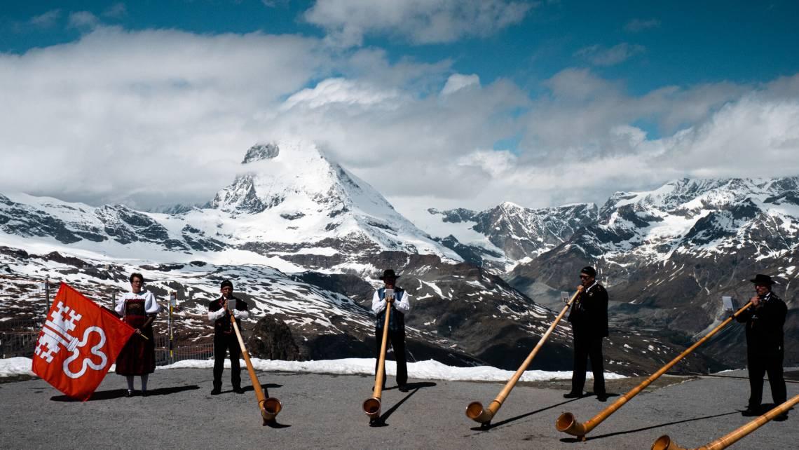 Alphorns on the Gornergrat above Zermatt in summer