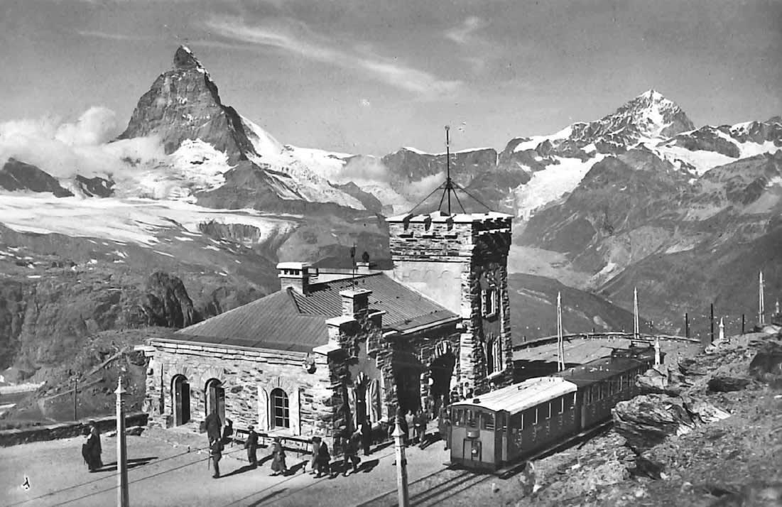 Arrêt du Gornergrat en été autour de 1900, Zermatt, Suisse