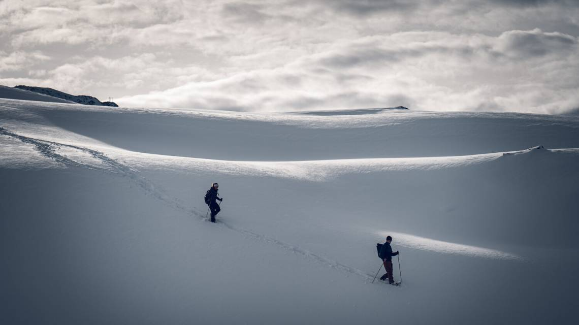 Snowshoeing on the panorama trail from Rotenboden to Riffelberg