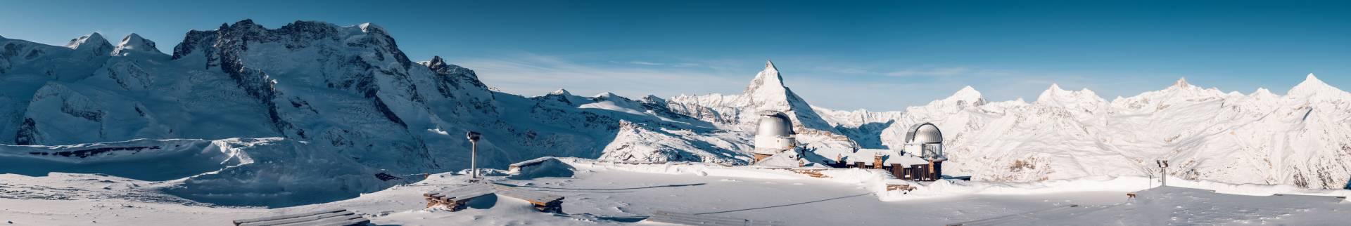 Panoramic view on top of Gornergrat in Winter