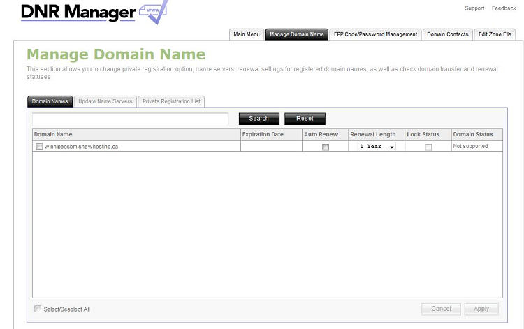 Shaw hosting manage domain