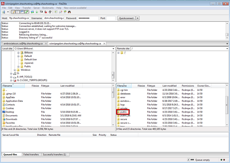 Filezilla screenshot. Highlighted public folder is where website content should be uploaded.
