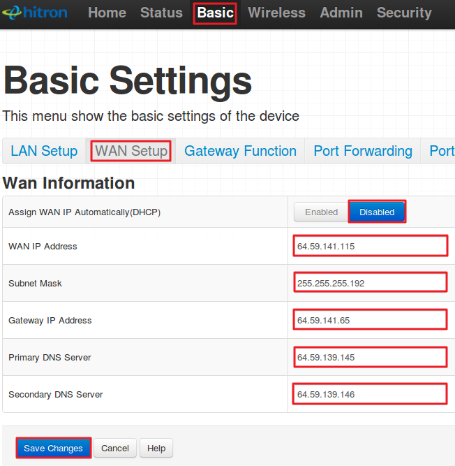 Hitron Router Settings: Static IP setup