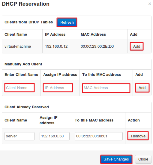 LAN Setup: DHCP Reservation Settings