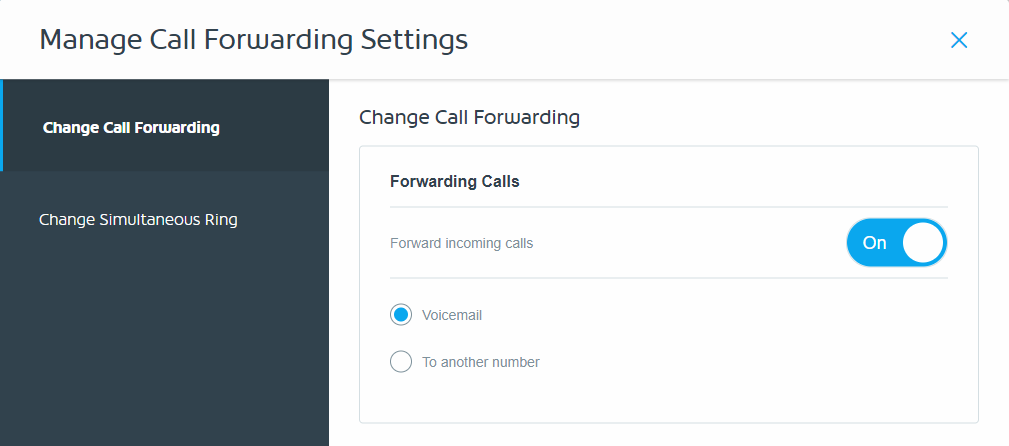 Enable call forwarding by selecting ON
