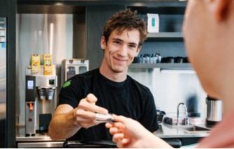Man receiving money from a customer