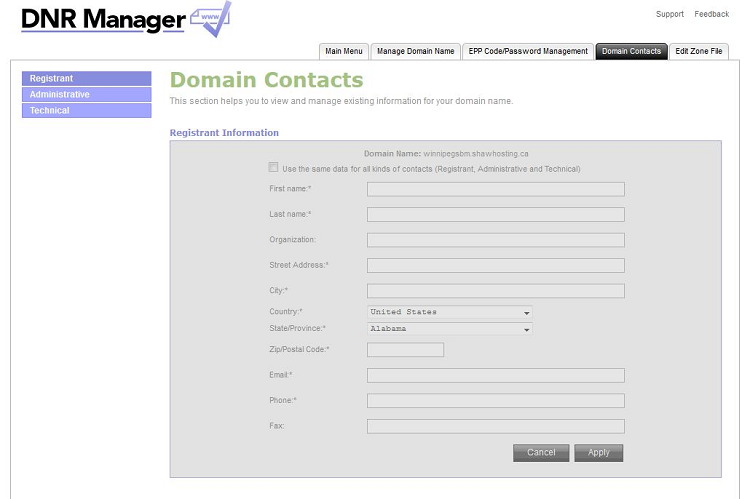 Update domain contacts