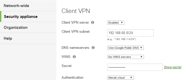 How to configure SmartSecurity Client VPN